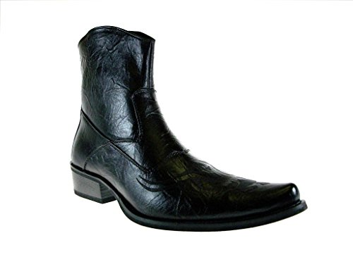 BB&W Men's M1763 Westren Style Tribal Design Calf High Boots, Black, 8.5