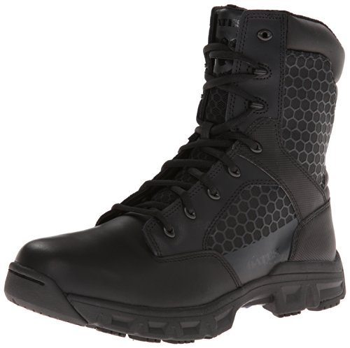 Bates Men's Code 6 Black 8 Inch Leather Nylon Zip Uniform Boot, Black, 11.5 XW US
