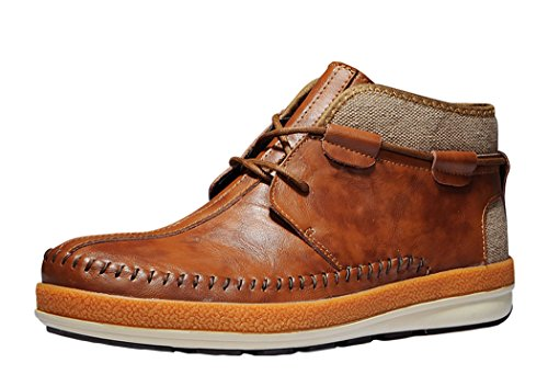 Serene Black Friday Mens Comfortable Leather Lace-up Fashion Chukka Boot (11 D(M)US, Brown)