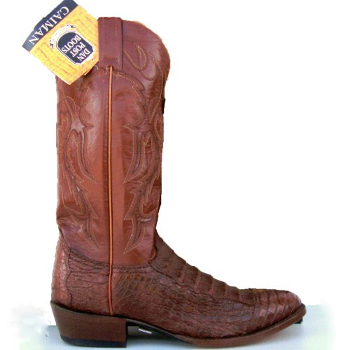 Dan Post Mens Cognac Pieced Caiman Gator Cowboy Boots[ 9.5,Medium (D, M)]