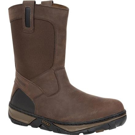 Rocky Men's Forge Waterproof Wellington 10″ Brown Work Boot, RK029 13ME