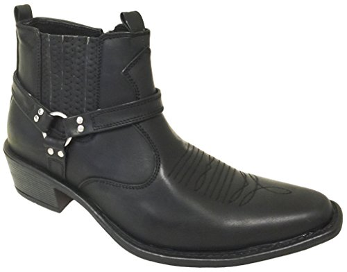 Men's Cowboy Ankle Boots western Leather Lining Gore Side Zipper Shoes (12 D(M) US, Black)