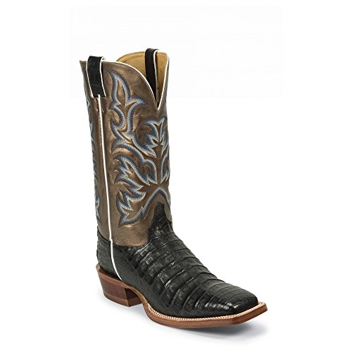 Justin Men's Aqha Vintage Caiman Belly Metallic Cowboy Boot Wide Square Toe Black 10 D(M) US