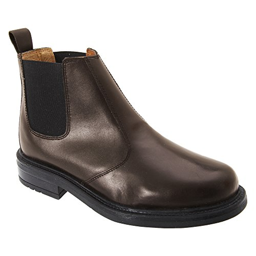 Roamers Mens Leather Quarter Lining Gusset Chelsea Boots (9 US) (Brown)
