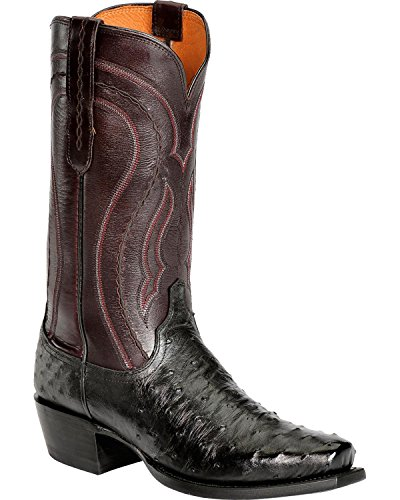 Lucchese Men's Handcrafted 1883 Full Quill Ostrich Western Boot Snoot Toe Black US