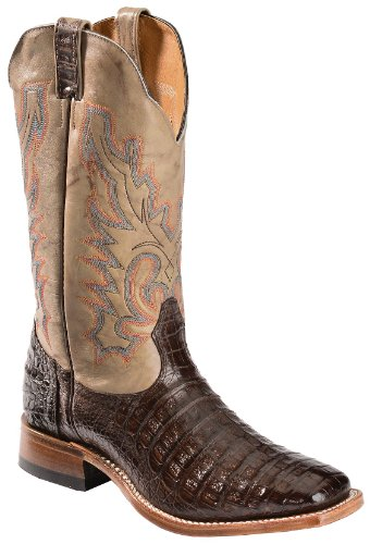 Boulet Men's Caiman Belly Cowboy Boot Square Toe Chocolate US