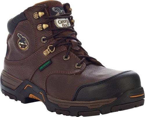 Georgia Men's Boot Diamond Trax Waterproof 6″ Lace-Up Work Steel Toe Chocolate US