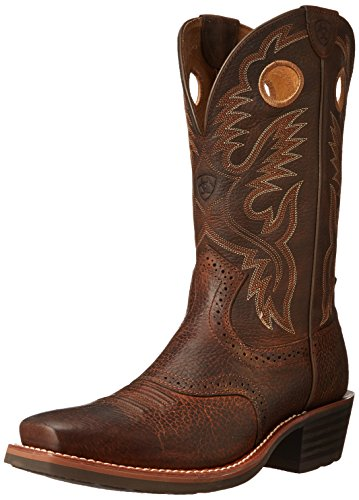 Ariat Men's Heritage Roughstock Square Toe Western Boot,  Brown Oiled Rowdy,  10.5 D US