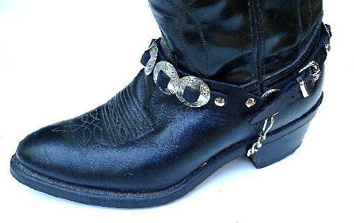 "Western Boots Boot Chains: ""The Concho Honcho"" Black Leather with 8 Conchos"