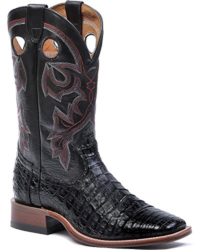 Mens Smooth Real Crocodile Belly Skin Black Leather Cowboy Boots Western