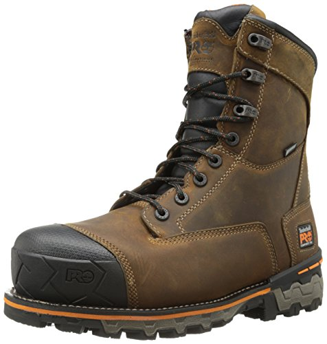 Timberland PRO Men's 8 Inch Boondock Composite Toe WP Industrial Work Boot,Brown Oiled Distressed Leather,12 W US