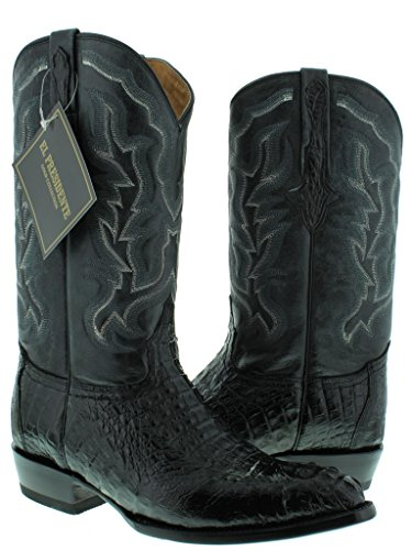 El Presidente – Men's Black Genuine Crocodile Hornback Western Cowboy Leather Boots J Toe