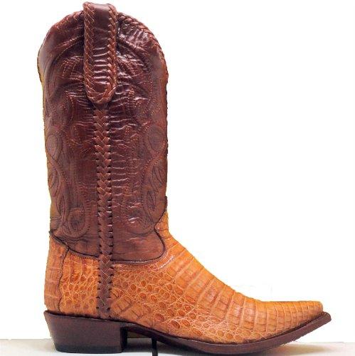 Corral Cowboy Boots Mens Cognac Caiman Gator Belly Cut Snip Toe