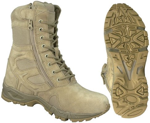 Rothco G.I. Type Side Zipper Tactical Boots, Desert Tan, Size 10