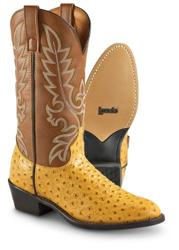 Laredo Men's Ostrich Print Cowboy Boot Gold 8.5 D(M) US