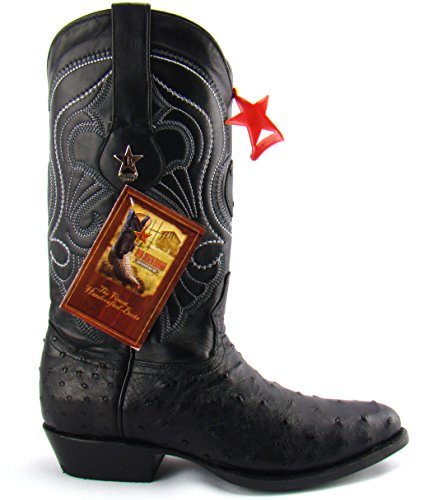 Los Altos Black Genuine Ostrich R-Toe Mens Western Cowboy Boots 11 D