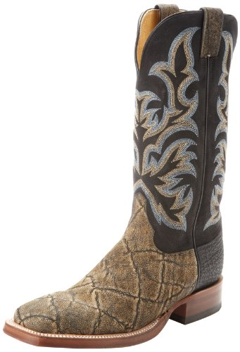 Justin Boots Men's U.S.A. Aqha Lifestyle Collection 13″ Remuda Series Boot Wide Square Double Stitch Toe,Antique Saddle Elephant/Black Jurassic Goat,10 EE US