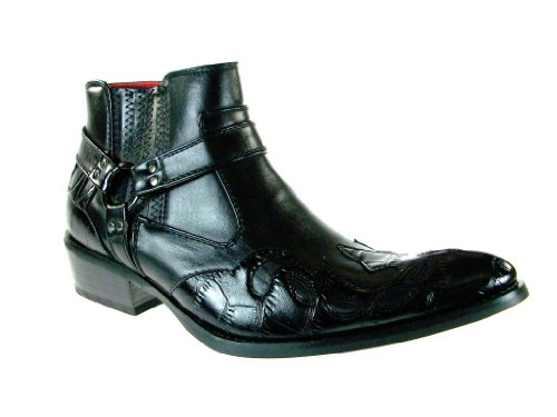 Alfa Men's M1732 Crocodile Textured Cowboy Boot, Black, 9