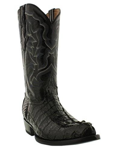El Presidente – Men's Black Genuine Crocodile Tail Leather Western Cowboy Boots J Toe Size 12