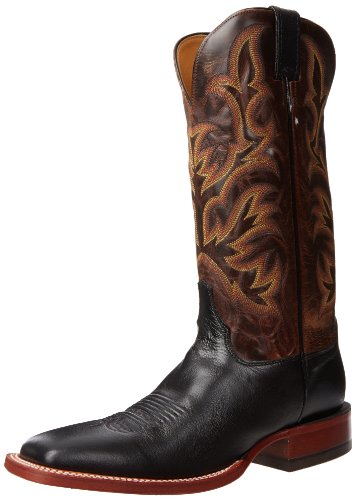 Justin Boots Men's U.S.A. Aqha Lifestyle Collection 13″ Remuda Series Boot Wide Square Double Stitch Toe,Black Shadow Kidskin/Tan Vintage Goat,10 D US