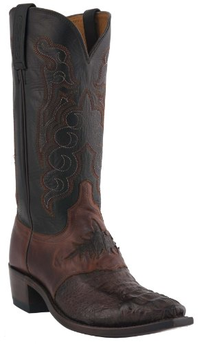 Lucchese Men's Handcrafted 1883 Hornback Caiman Saddle Vamp Cowboy Boot Snip Toe Barrel Brn US