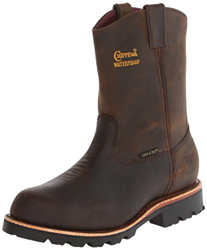 Chippewa Men's 10 Inch Bay Crazy Horse Waterproof Rugged Boot,Brown,9 EE US
