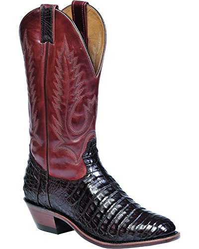 Boulet Men's Chocolate Caiman Belly Boot Pointed Toe Chocolate US