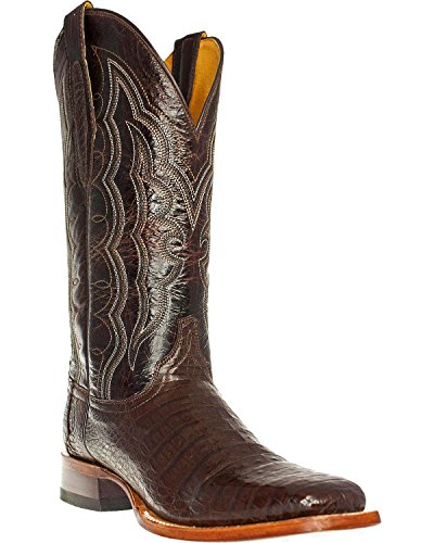 Cinch Men's Caiman Belly Western Boot Square Toe Mahogany US