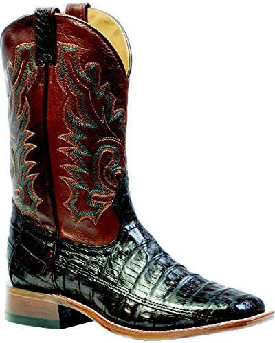 Boulet Men's Chocolate Caiman Belly Rider Sole Boot Square Toe Chocolate US