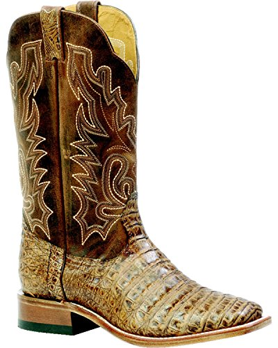 Boulet Men's Antique Pecan Caiman Belly Boot Square Toe Pecan US