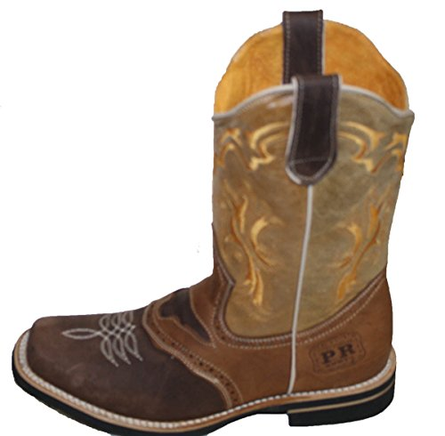 Men cowboy Genuine Cowhide Leather square toe rodeo western BOOTS_Brown_Tan_6