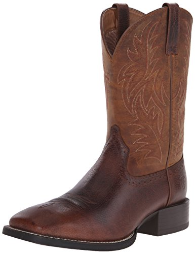 Ariat Men's Sport Western Wide Square Toe Western Boot,  Fiddle Brown/Powder Brown,  13 D US
