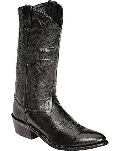Old West Men's Smooth Leather Cowboy Boot Medium Toe Black 9.5 EE US