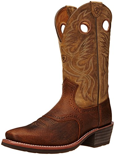 Ariat Men's Heritage Roughstock Square Toe Western Boot,  Earth/Brown Bomber, 9   D