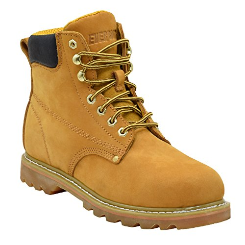 "Ever Boots ""Tank"" Premium Full-Grain Leather Work Boots 3 Month Manufacture Warranty Plain Soft-Toe Water Resistant Leather Insulated Goodyear Welt Construction Boots Oil Resistant Rubber Sole"