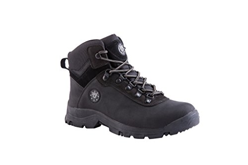 KINGSHOW Men's 1552-1 Waterproof Black Rubber Sole Work Boots 10 M US