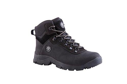 KINGSHOW Men's 1552-1 Waterproof Black Rubber Sole Work Boots 10 M US