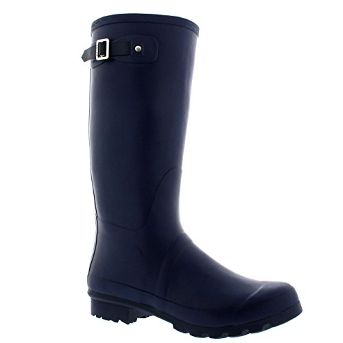 Mens Original Tall Plain Fishing Garden Rubber Waterproof Wellingtons – 10 – NAV43 BL0181