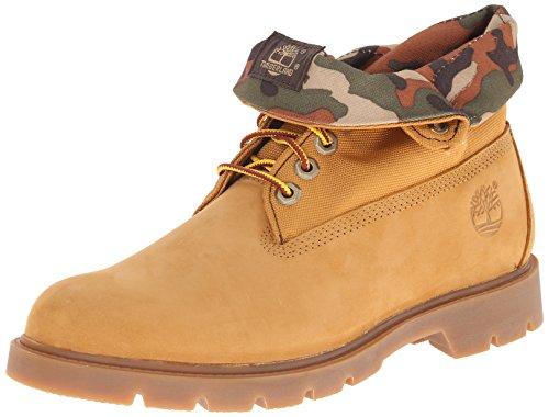 Timberland Men's Basic Single Roll-Top Boot, Wheat Nubuck Camo, 10.5 M US