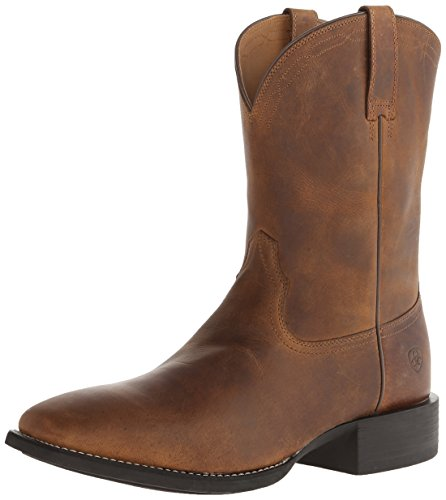 Ariat Men's Heritage Roper Wide Square Toe Western Boot,  Powder Brown,  9 2E US