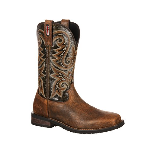 Rocky Men's 12 Inch Western Trail Bend Boot, Burnt Umber/Dark Brown, 13 W US