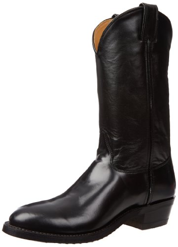 Justin Boots Men's U.S.A. 12″ Classic Western Boot Low Profile Round Toe,Black Melo-Veal,9.5 EE US