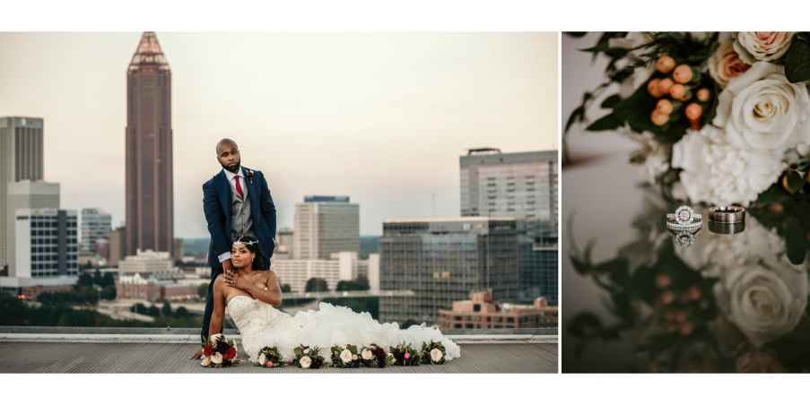 Bride and Groom on the rooftop at Ventanas, detailed ring shot on the right