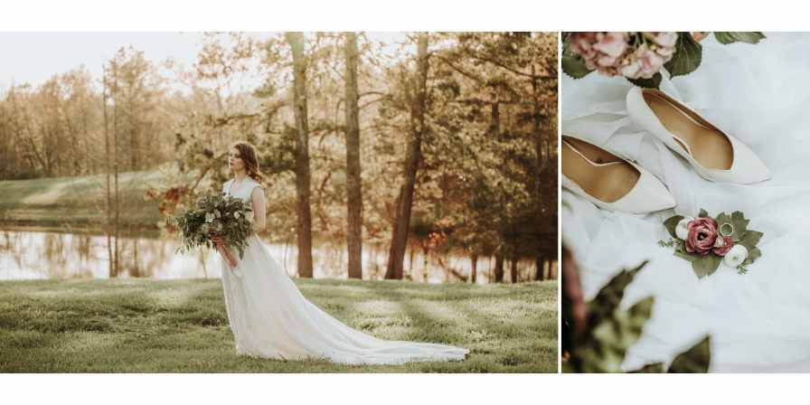 Stress-Free bride in field with detail shots