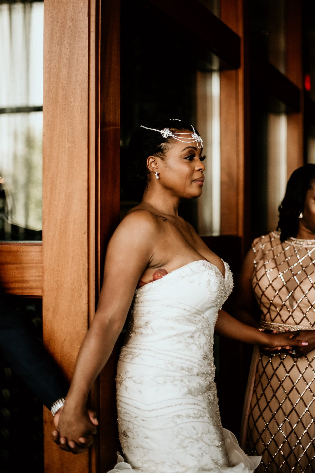 Bride crying prior to the first look