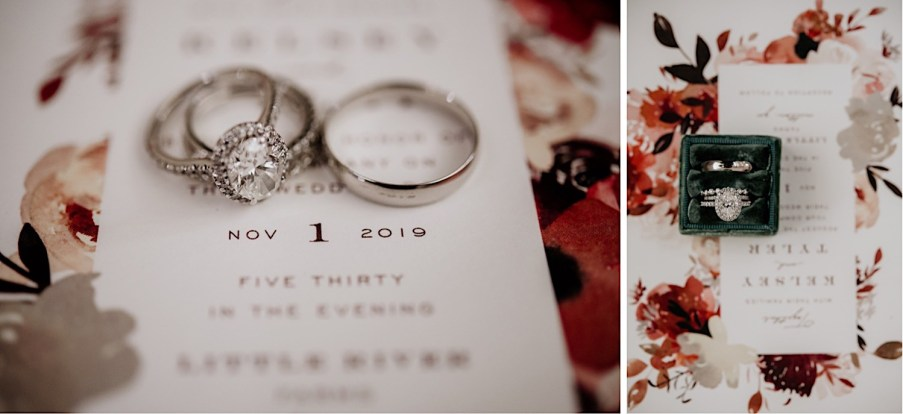 Wedding rings and wedding invitations photography
