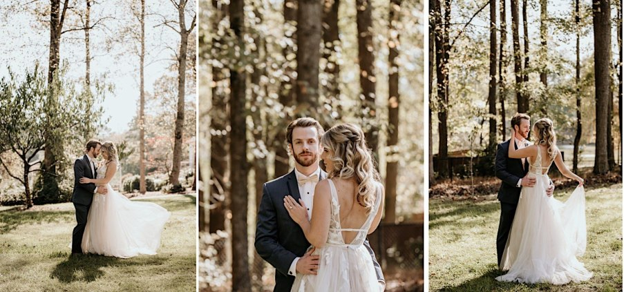 Bride and groom portraits outside in nature