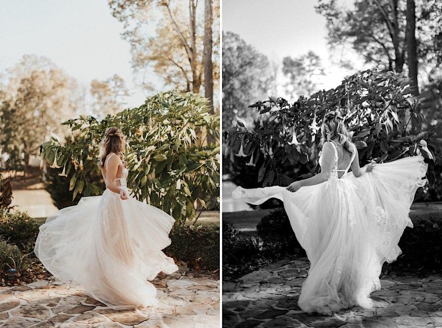 Bride twirling dress portraits