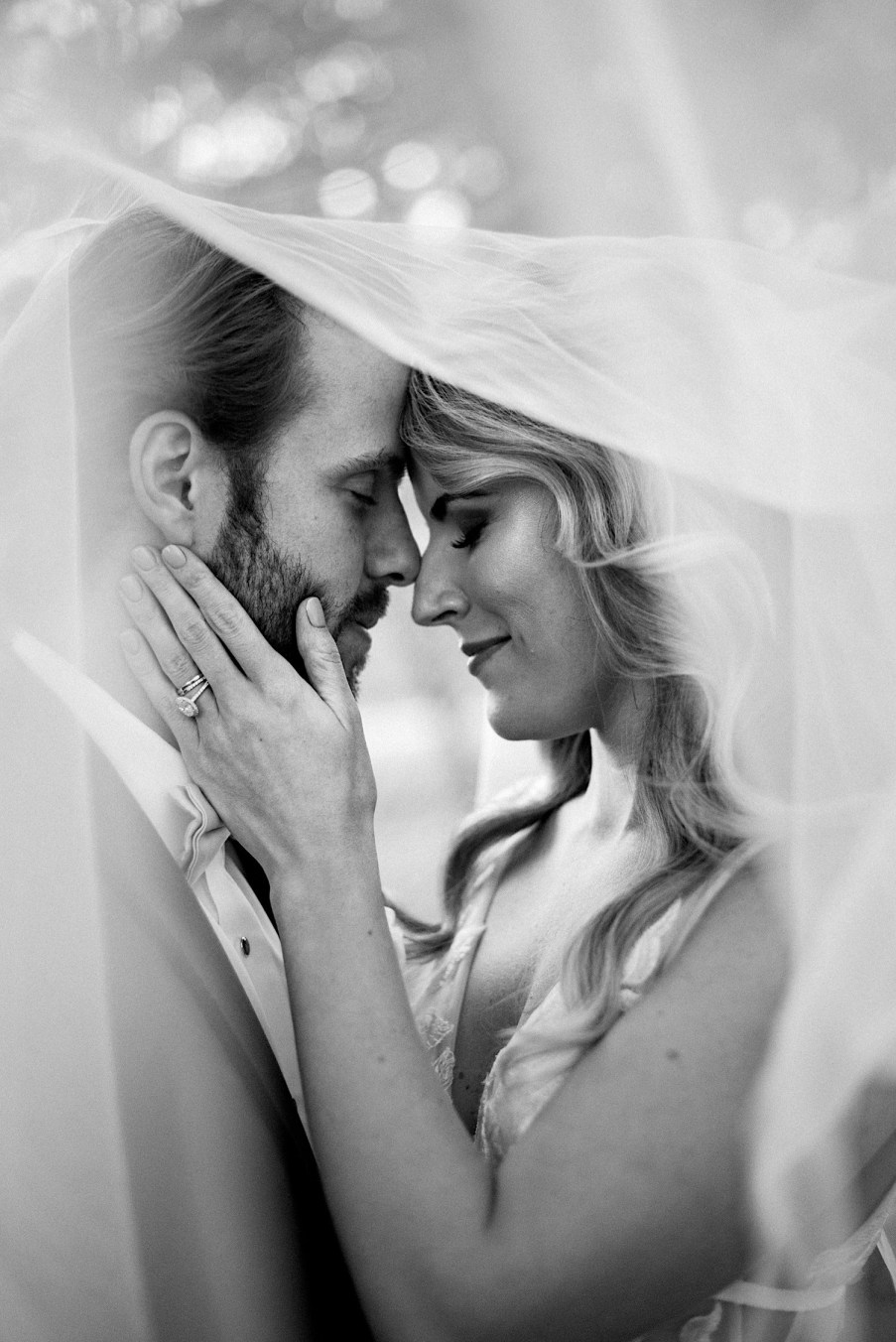 Newly wed golden hour portraits bride and groom