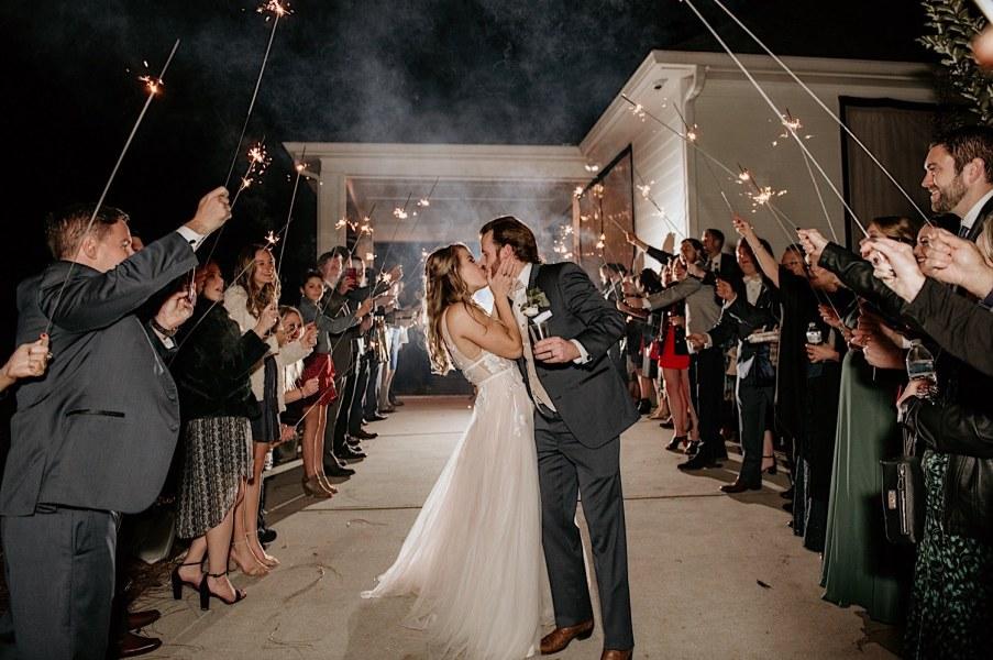 wedding sparkler send off at little river farms